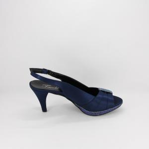 Sandalo cerimonia donna elegante in tessuto di raso blu con inserti glitter e cinghietta regolabile Art. A548 Gi. Effe Ci.