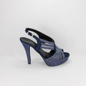 Sandalo donna elegante da cerimonia in tessuto di raso blu e inserti  tessuto notturno glitter  con cinghietta regolabile  Art. A398 Gi. Effe Ci.