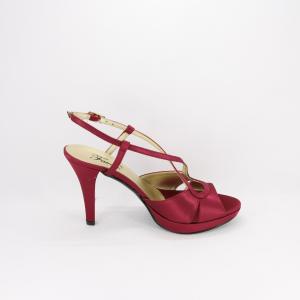 Sandalo donna elegante da cerimonia in tessuto di raso bordeaux glitter  con cinghietta regolabile  Art. A540 Gi. Effe Ci