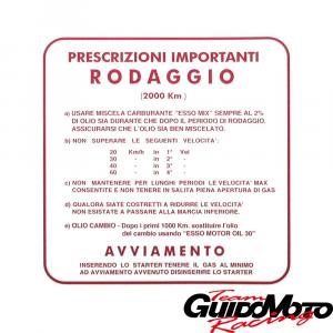 Adesivo per Vespa RODAGGIO 2%, 4 marce, rosso