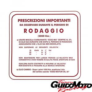 Adesivo per Vespa RODAGGIO 2%, 3 marce, rosso