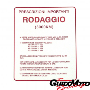 Adesivo per Vespa RODAGGIO 5%, 4 marce, rosso