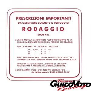 Adesivo per Vespa RODAGGIO 5%, 3 marce, rosso