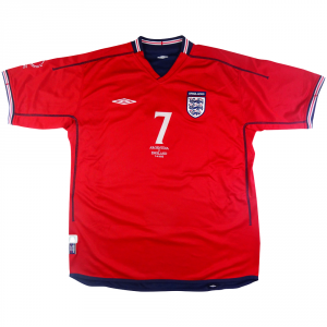 2002 Inghilterra Player Issue Away vs Argentina Maglia Beckham #7 XL (Top)
