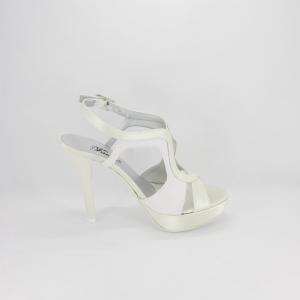 Sandalo donna elegante da cerimonia in tessuto di raso avorio con inserti glitter con cinghietta regolabile  Art. A380 Gi.Effe Ci.