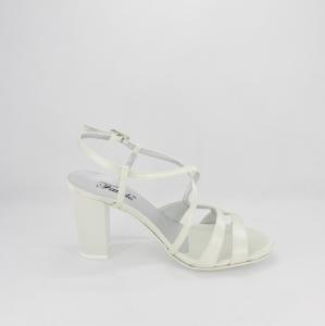 Sandalo donna elegante da cerimonia in tessuto di raso avorio con cinghietta regolabile  Art. A51 Gi.Effe Ci.