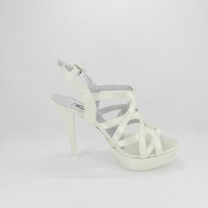 Sandalo donna elegante da cerimonia in tessuto di raso avorio con cinghietta regolabile  Art. 1081 Gi.Effe Ci.