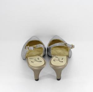 Scarpa cerimonia donna elegante in tessuto glitter color oro/fumo con punta sfilata e cinghietta regolabile alla caviglia  Art. ALDA