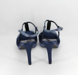 Sandalo donna elegante da cerimonia in tessuto glitter e raso con cinghietta regolabile  Art. A824