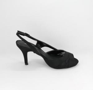 Sandalo donna elegante da cerimonia in tessuto di raso nero con inserti pizzo e cinghietta regolabile  Art. BS408