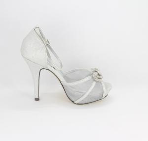 Sandalo donna elegante da cerimonia in tessuto glitter  argento con cinghietta regolabile e applicazione strass Art.Z600002