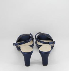 Sandalo cerimonia donna elegante in tessuto blu con applicazione in cristalli e cinghietta regolabile Art. H17Z21SARASF0943P07
