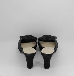 Sandalo cerimonia donna elegante in tessuto di raso nero con applicazione in cristalli e cinghietta regolabile Art.H17Z10PTRASF1400P07
