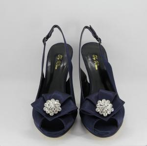 Sandalo donna elegante da cerimonia in tessuto di raso blu con applicazioni cristallo e cinghietta regolabile  Art.  Z230025
