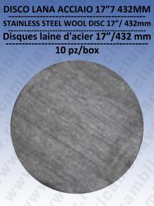PAD DISCHI LANA D'ACCIAIO  17 432 mm 10 PEZZI per lavapavimenti