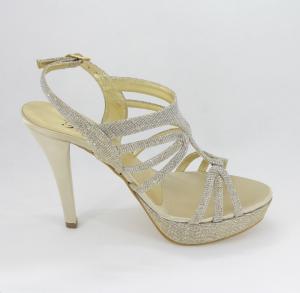 Sandalo donna elegante da cerimonia in tessuto glitter platino con cinghietta regolabile  Art. A558 Gi. Effe Ci