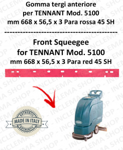 5100 GOMMA TERGI anteriore PARA rossa per lavapavimenti TENNANT 45 SH
