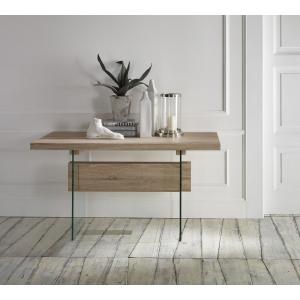 Tavolo ingresso piana in legno grezzo abaco con gambe in vetro temperato mariella e silvia snc - Tavolo vetro temperato opinioni ...