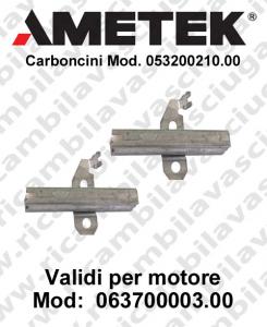 COPPIA di Carboncini Motore aspirazione per motori Ametek  063700003.00 2 x Cod: 053200210.00