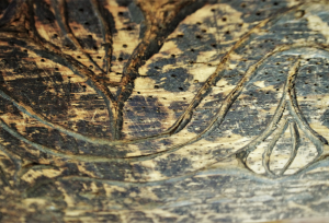 Bauletto in legno vintage '800 a scavata unica provenienza Afghanistan