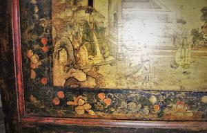 Cassapanca vintage '700 in legno di olmo proveniente dalla Mongolia
