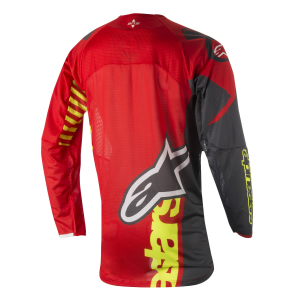MAGLIA MOTO CROSS ALPINESTARS TECHSTAR 2018 VENOM RED YELLOW FLUO ANTHRACITE