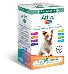 BAYER PET ATTIVO TABS INTEGRATORE MULTIVITAMINICO CANI 60 COMPRESSE