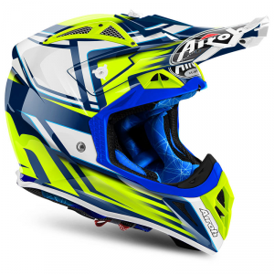 CASCO MOTO CROSS AIROH AVIATOR 2018 RESTYLE YELLOW GLOSS AV22RS31