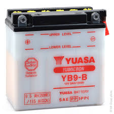 Batteria YUASA  YB9-B 12 V. 9 HA per moto e scooter