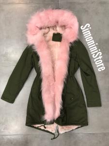 Parka  donna verde militare con collo in eco pelliccia rosa e nero | TG s,m,l,xl