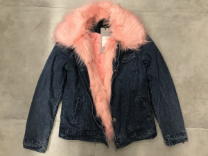 Giacca in jeans imbottita con eco-pelliccia  interna e sul collo |TG S, M , L