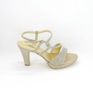 Sandalo donna elegante da cerimonia in tessuto glitter platino con cinghietta regolabile Art. A689 Gi. Effe Ci