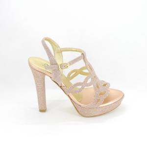 Sandalo donna elegante da cerimonia in tessuto glitter rosa con cinghietta regolabile Art. A668 Gi. Effe Ci.