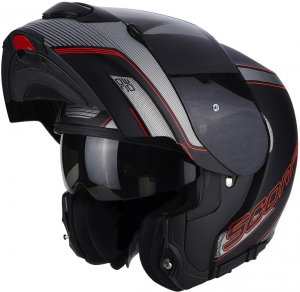 CASCO MOTO MODULARE SCORPION EXO-3000 AIR STROLL MATT BLACK SILVER RED