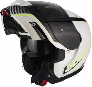 CASCO MOTO MODULARE SCORPION EXO-3000 AIR STROLL PEARL WHITE BLACK NEON YELLOW