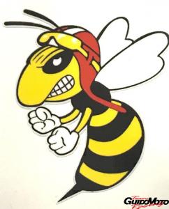 Adesivo vespa con casco e occhiali vintage