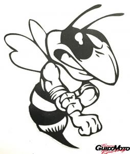 Adesivo vespa arrabbiata vintage bianco nera