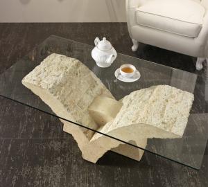 Tavolino da Salotto Papillon in Pietra FossilStone e Vetro