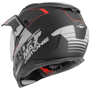 CASCO MOTO INTEGRALE CROSS ASTONE CROSSMAX ROAD MATT BLACK GREY RED