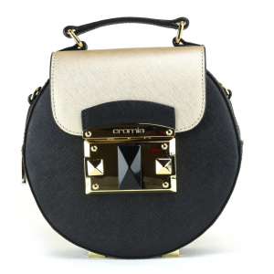 Hand and shoulder bag Cromia IT SAFFIANO 1403638 NERO+ORO