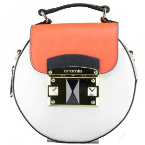 Hand and shoulder bag Cromia IT SAFFIANO 1403638 PLATINO+VERMIGLIO