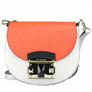 Shoulder bag Cromia IT SAFFIANO 1403640 PLATINO+VERMIGLIO