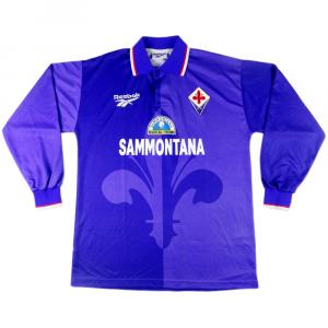 1995-96 Fiorentina Maglia Home Match Worn #7 Schwarz XL