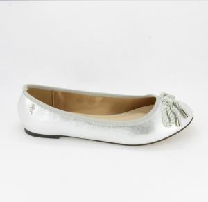 Ballerine eleganti  donna in tessuto argento con fiocchetto in cordoncino  Art. 06894X