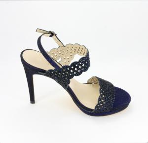 Sandalo cerimonia donna elegante in tessuto glitter blu con applicazione in cristalli e cinghietta regolabile Art.095890R21