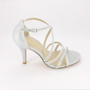 Sandalo cerimonia donna elegante in tessuto argento glitter con applicazione in cristalli e cinghietta regolabile Art.070150R09