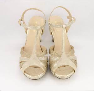 Sandalo cerimonia donna elegante in tessuto oro glitter con cinghietta regolabile Art.095560R087