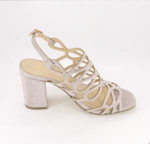 Sandalo cerimonia donna elegante nude glitter e cinghietta regolabile Art.095240R97