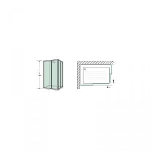 BOX DOCCIA RETTANGOLARE 80X120 CM IN CRISTALLO TRASPARENTE TEMPERATO DA 6MM PROFILI ALLUMINIO CROMATO LUCIDO