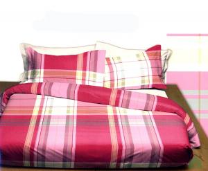 Set lenzuola matrimoniali Bossi Casa tinto in filo FLORES rosa